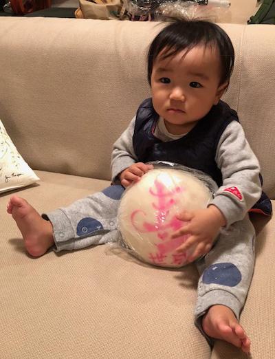 一升餅(誕生餅)でお誕生祝いされた 高橋 世成ちゃん のカワイイお写真